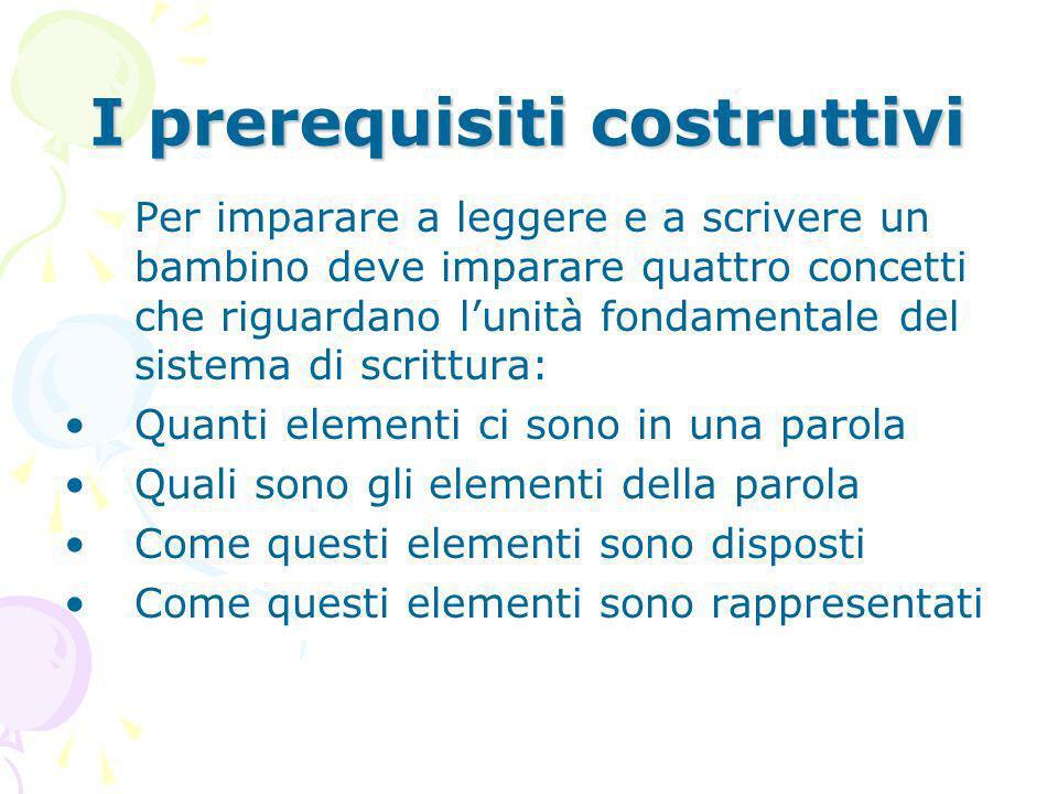 I prerequisiti costruttivi Per imparare a leggere e a scrivere un bambino deve imparare quattro concetti che riguardano lunità fondamentale del sistem