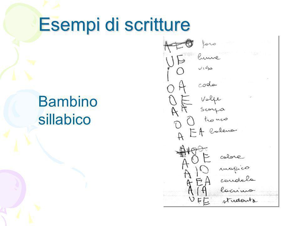 Bambino sillabico Esempi di scritture