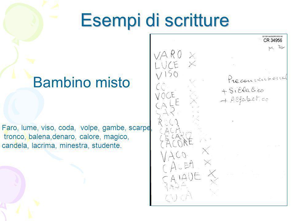 Esempi di scritture Bambino misto Faro, lume, viso, coda, volpe, gambe, scarpe, tronco, balena,denaro, calore, magico, candela, lacrima, minestra, stu