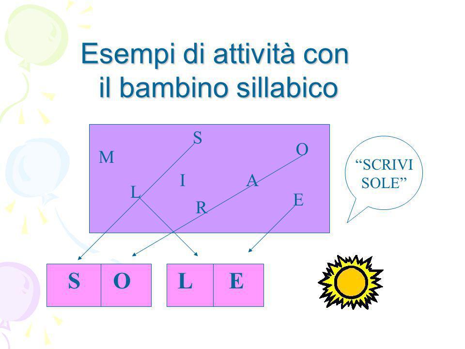 Esempi di attività con il bambino sillabico M S L AI O E R SCRIVI SOLE SOLE