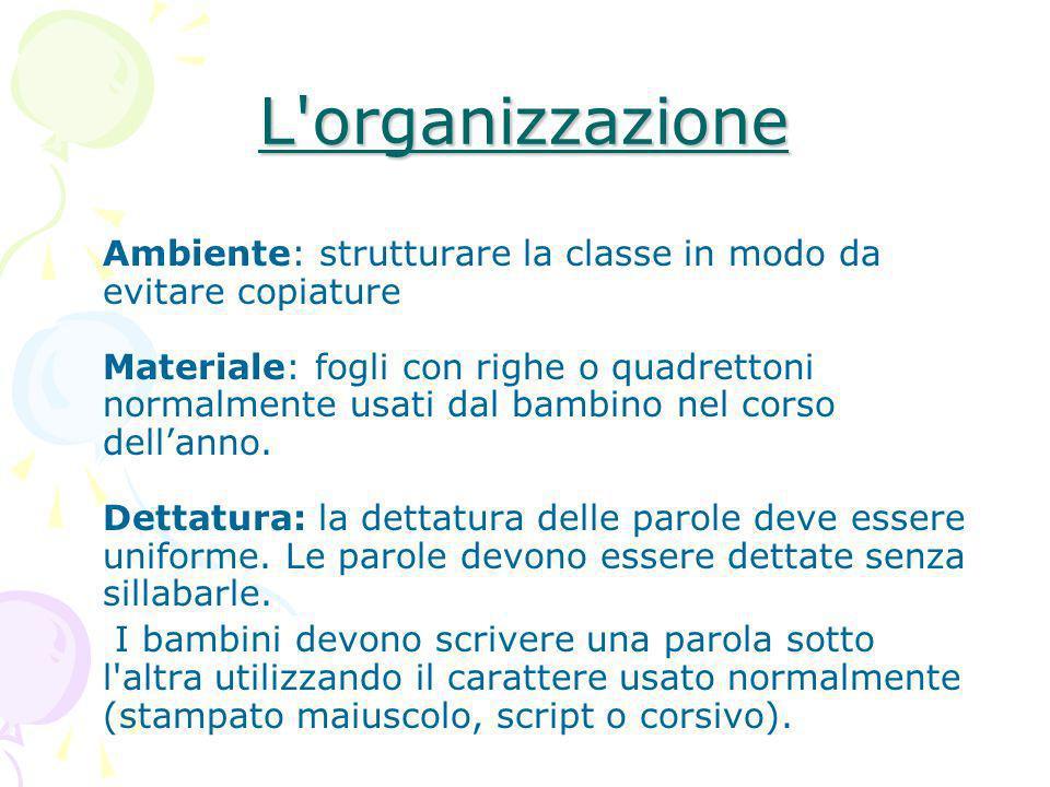 L'organizzazione Ambiente: strutturare la classe in modo da evitare copiature Materiale: fogli con righe o quadrettoni normalmente usati dal bambino n