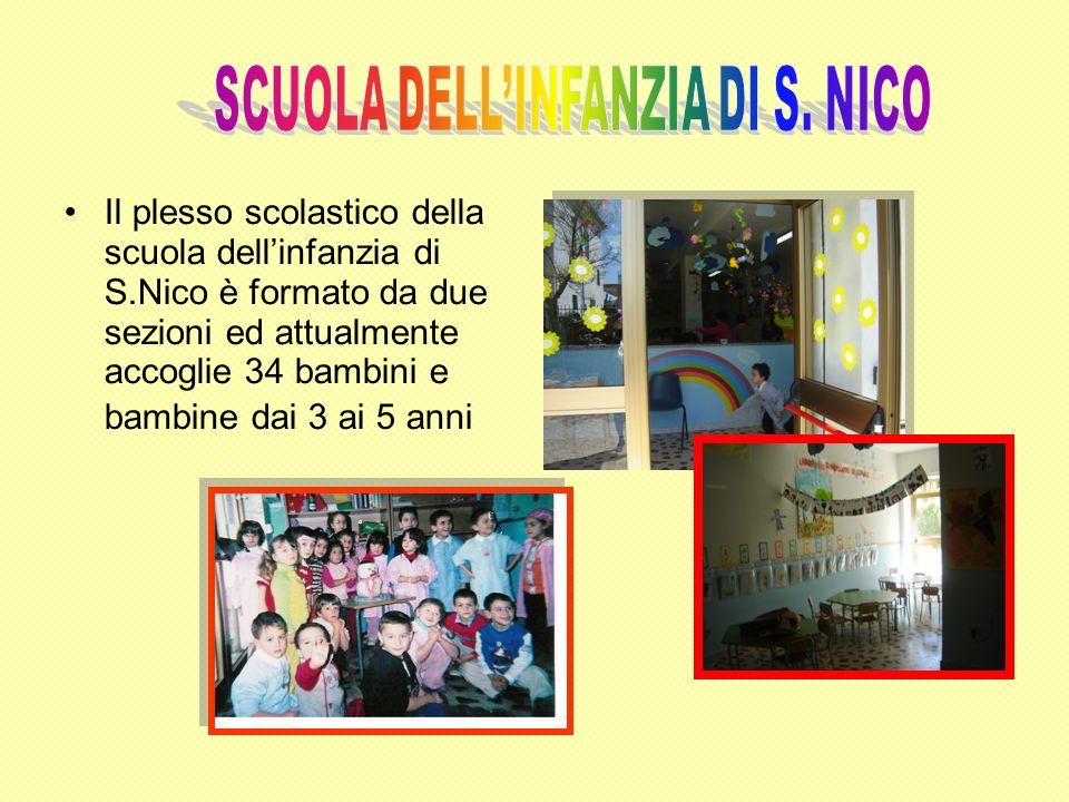 Il plesso scolastico della scuola dellinfanzia di S.Nico è formato da due sezioni ed attualmente accoglie 34 bambini e bambine dai 3 ai 5 anni