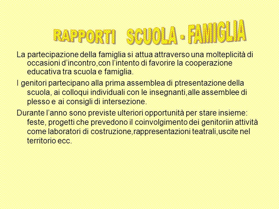 La partecipazione della famiglia si attua attraverso una molteplicità di occasioni dincontro,con lintento di favorire la cooperazione educativa tra sc