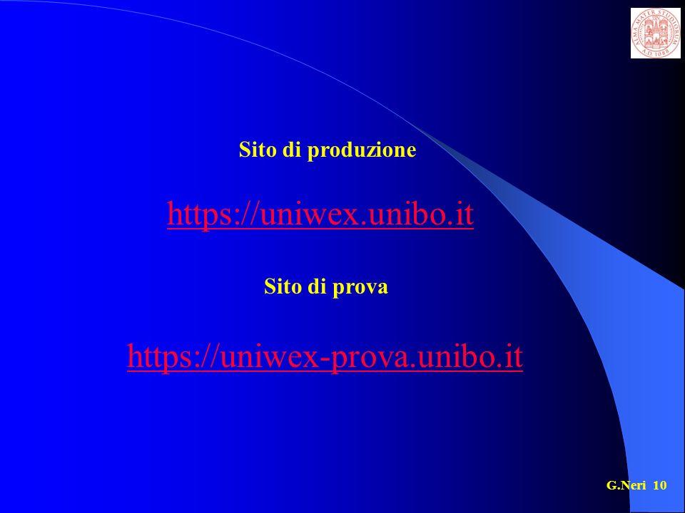 G.Neri 10 https://uniwex.unibo.it https://uniwex-prova.unibo.it Sito di produzione Sito di prova