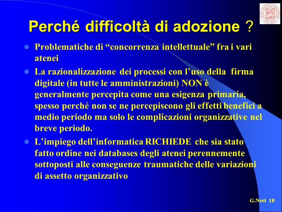 G.Neri 18 Perché difficoltà di adozione .