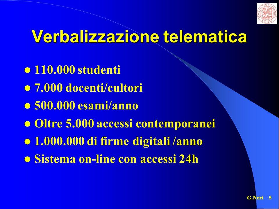 G.Neri 5 Verbalizzazione telematica 110.000 studenti 7.000 docenti/cultori 500.000 esami/anno Oltre 5.000 accessi contemporanei 1.000.000 di firme digitali /anno Sistema on-line con accessi 24h
