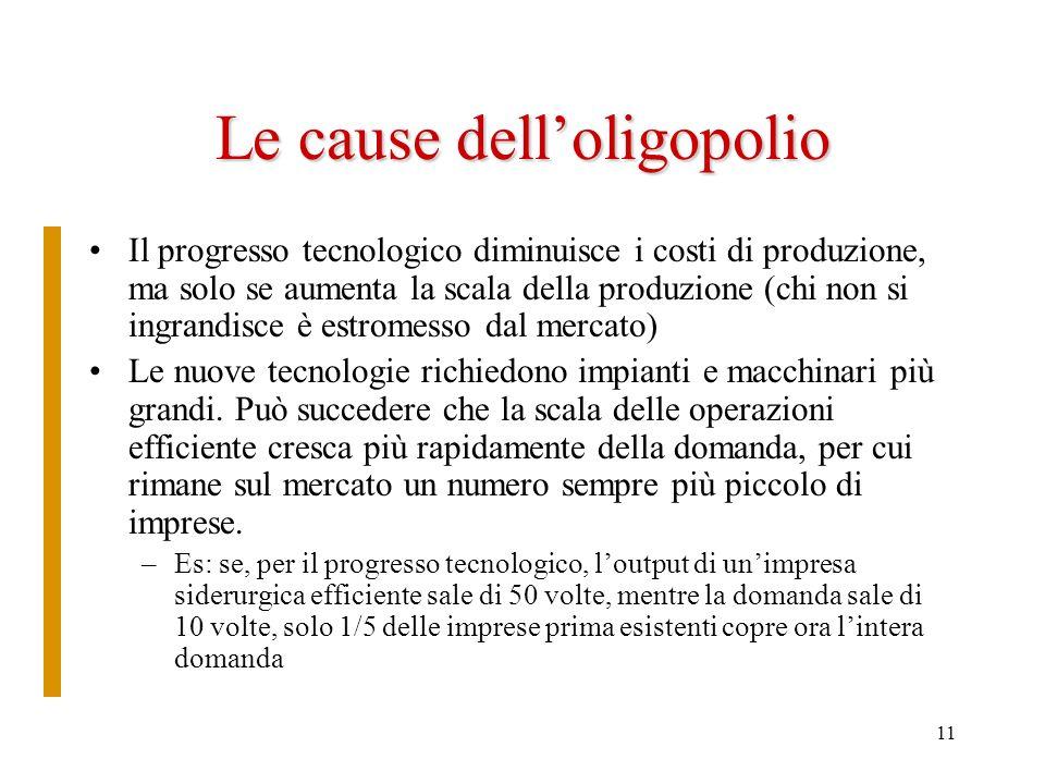 11 Le cause delloligopolio Il progresso tecnologico diminuisce i costi di produzione, ma solo se aumenta la scala della produzione (chi non si ingrand