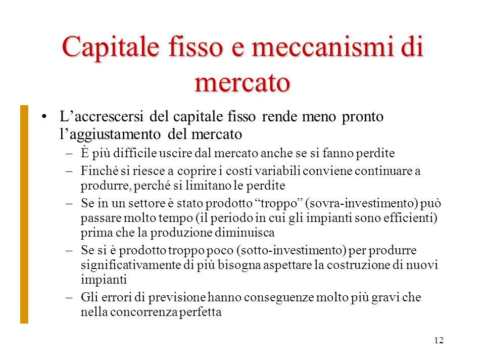 12 Capitale fisso e meccanismi di mercato Laccrescersi del capitale fisso rende meno pronto laggiustamento del mercato –È più difficile uscire dal mer