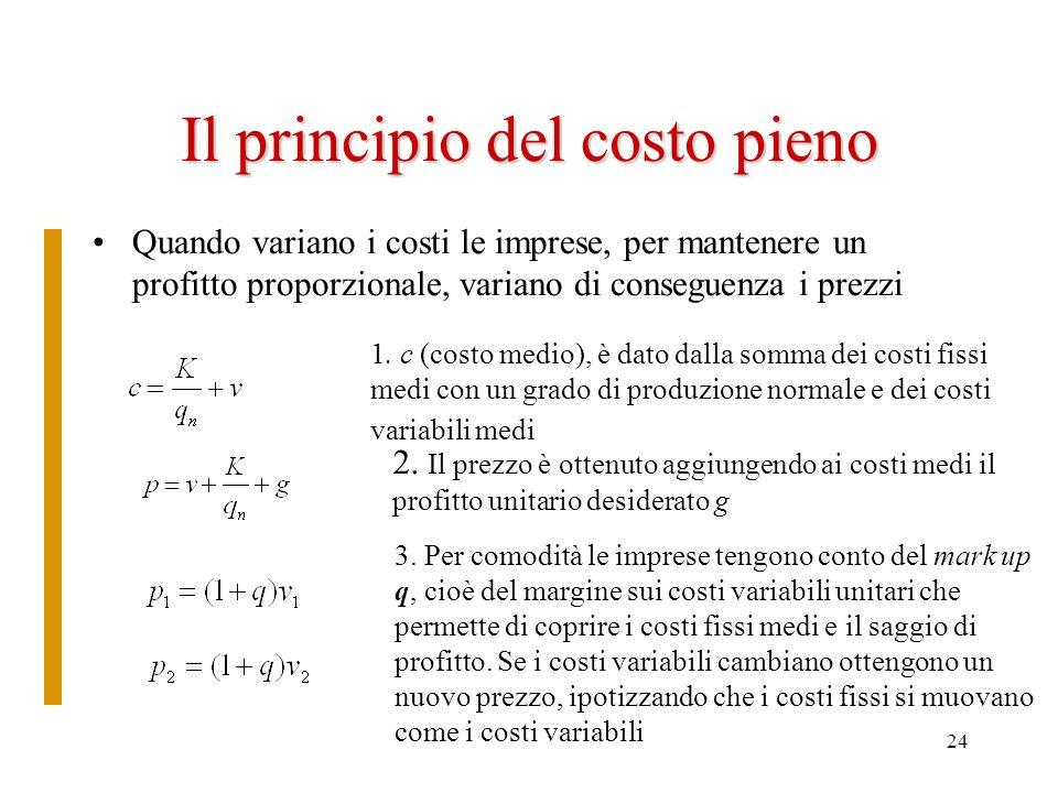 24 Il principio del costo pieno Quando variano i costi le imprese, per mantenere un profitto proporzionale, variano di conseguenza i prezzi 1. c (cost
