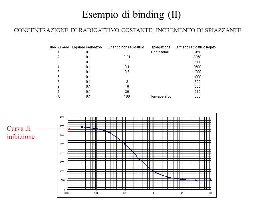 Esempio di binding (II) CONCENTRAZIONE DI RADIOATTIVO COSTANTE; INCREMENTO DI SPIAZZANTE Curva di inibizione