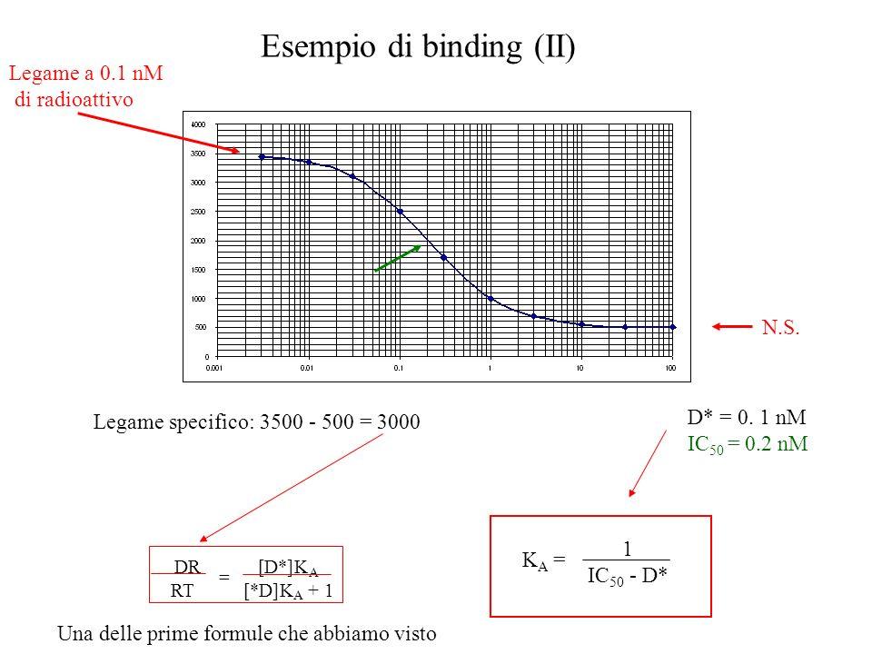 Esempio di binding (II) Legame specifico: 3500 - 500 = 3000 N.S. Legame a 0.1 nM di radioattivo D* = 0. 1 nM IC 50 = 0.2 nM K A = 1 IC 50 - D* DR RT [