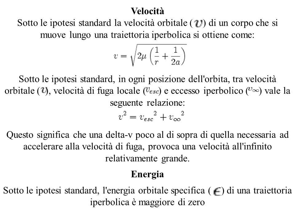 Velocità Sotto le ipotesi standard la velocità orbitale ( ) di un corpo che si muove lungo una traiettoria iperbolica si ottiene come: Sotto le ipotes