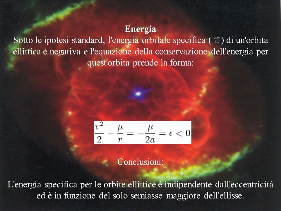 Energia Sotto le ipotesi standard, l'energia orbitale specifica ( ) di un'orbita ellittica è negativa e l'equazione della conservazione dell'energia p