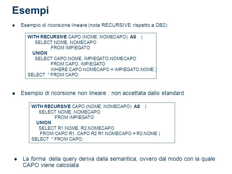 Esempi Esempio di ricorsione lineare (nota RECURSIVE rispetto a DB2) WITH RECURSIVE CAPO (NOME, NOMECAPO) AS ( SELECT NOME, NOMECAPO FROM IMPIEGATO UN