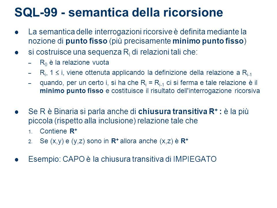 SQL-99 - semantica della ricorsione La semantica delle interrogazioni ricorsive è definita mediante la nozione di punto fisso (più precisamente minimo