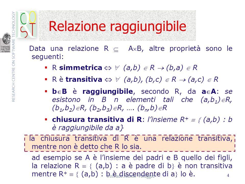 Corrado Aaron Visaggio 15...Calcolo relazionale sui domini Se f 1 f 2 sono formule, lo sono anche f 1 f 2 f 1 f 2 f 2 ; Se f è una formula ed x una variabile, allora anche x(f) x(f) sono formule.