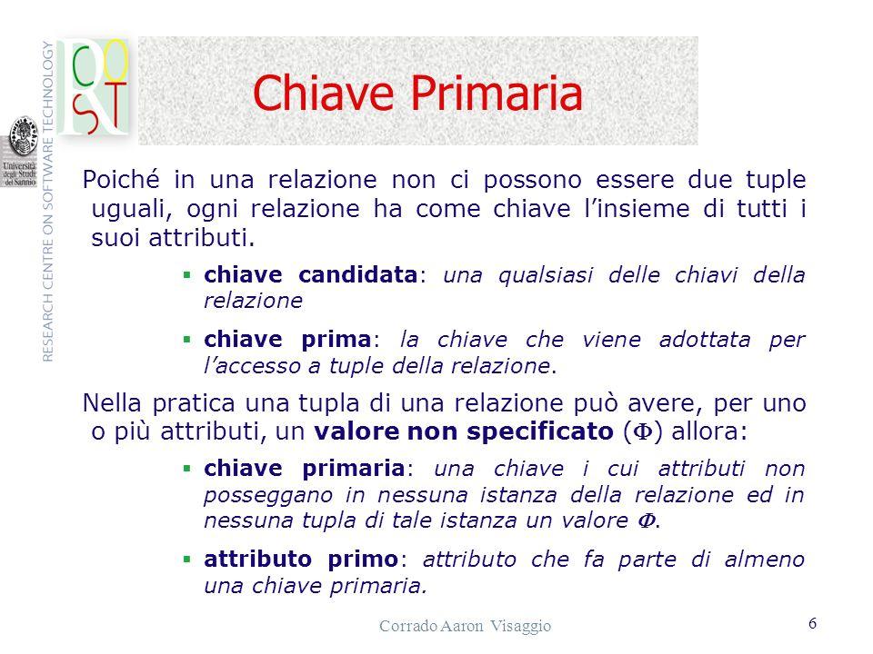 Corrado Aaron Visaggio 17 Limiti del calcolo relazionale Il calcolo ammette espressioni che hanno poco senso.