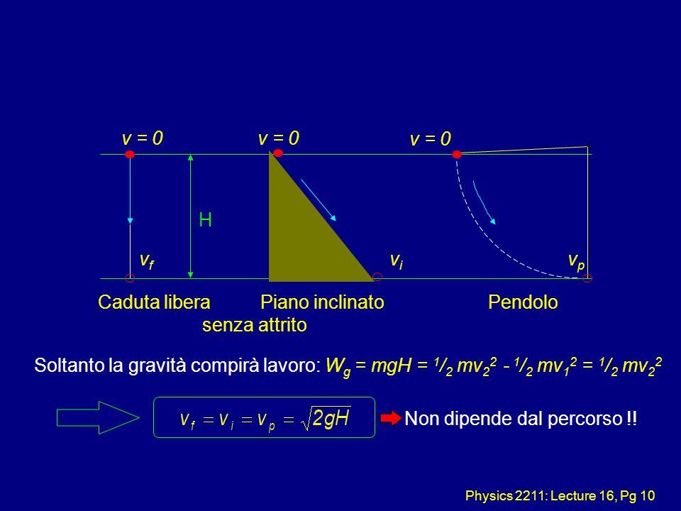 Physics 2211: Lecture 16, Pg 10 Soltanto la gravità compirà lavoro: W g = mgH = 1 / 2 mv 2 2 - 1 / 2 mv 1 2 = 1 / 2 mv 2 2 Non dipende dal percorso !!