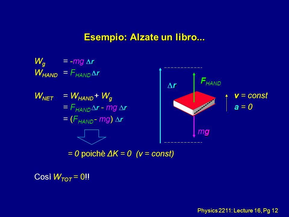 Physics 2211: Lecture 16, Pg 12 Esempio: Alzate un libro... r W g = -mg r r W HAND = F HAND r W NET = W HAND + W g rr = F HAND r - mg r r = (F HAND -