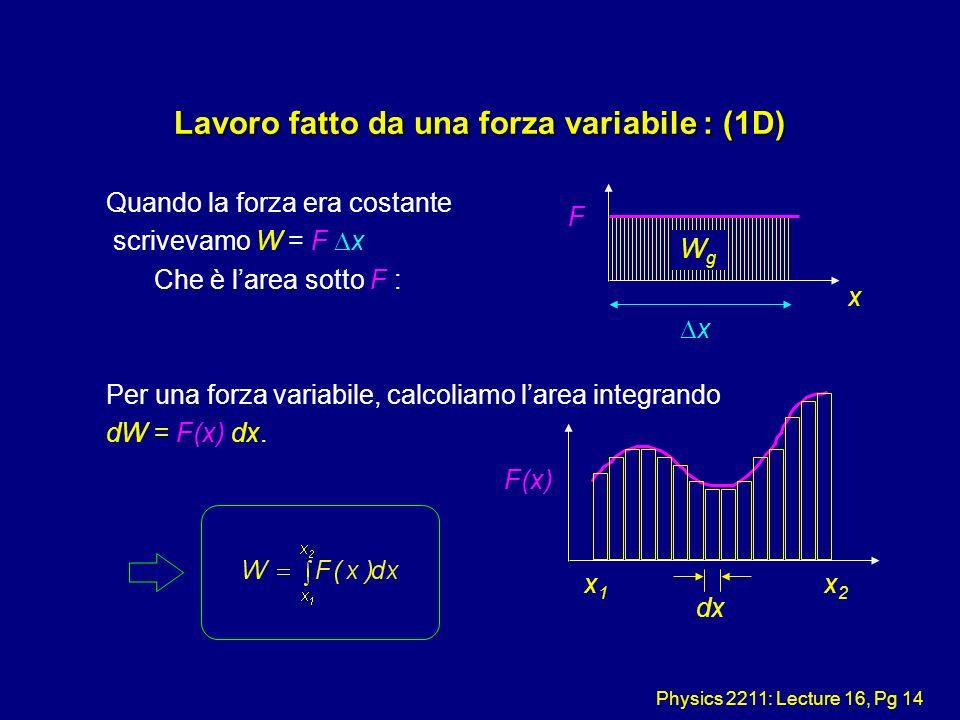 Physics 2211: Lecture 16, Pg 14 Lavoro fatto da una forza variabile : (1D) Quando la forza era costante scrivevamo W = F x Che è larea sotto F : Per u