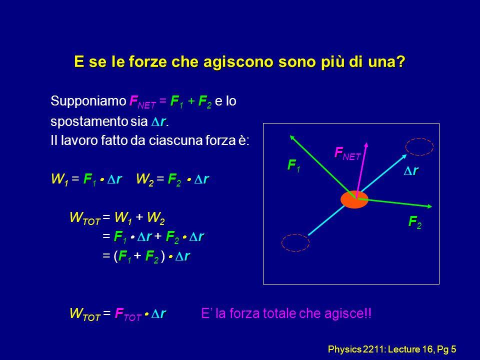 Physics 2211: Lecture 16, Pg 5 E se le forze che agiscono sono più di una? FFF Supponiamo F NET = F 1 + F 2 e lo r spostamento sia r. Il lavoro fatto