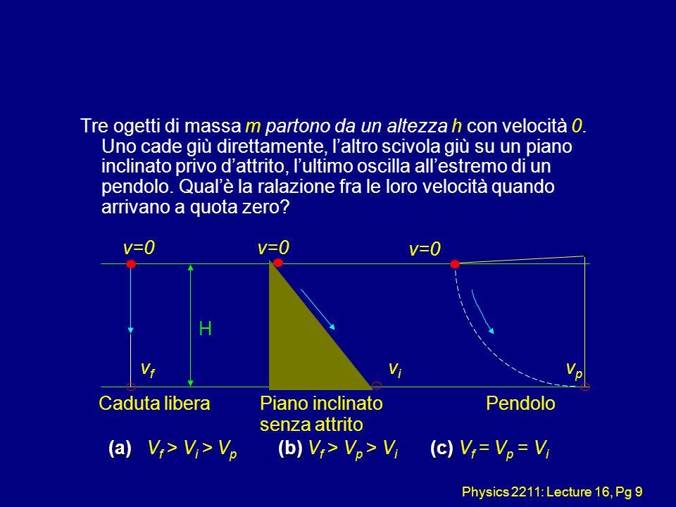 Physics 2211: Lecture 16, Pg 9 Tre ogetti di massa m partono da un altezza h con velocità 0. Uno cade giù direttamente, laltro scivola giù su un piano