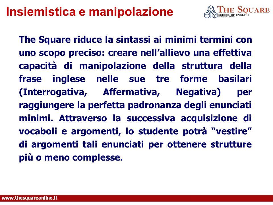 Insiemistica e manipolazione www.thesquareonline.it The Square riduce la sintassi ai minimi termini con uno scopo preciso: creare nellallievo una effe