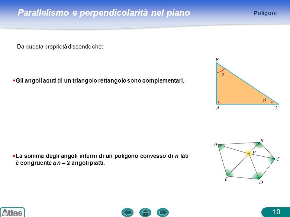 Parallelismo e perpendicolarità nel piano Poligoni 10 Da questa proprietà discende che: Gli angoli acuti di un triangolo rettangolo sono complementari