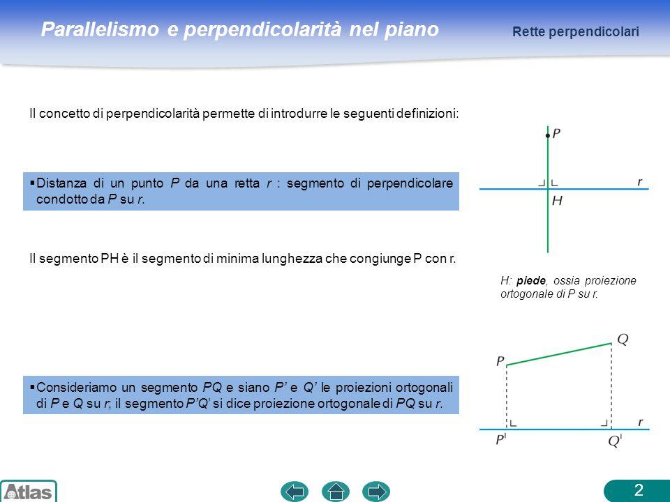 Parallelismo e perpendicolarità nel piano Il concetto di perpendicolarità permette di introdurre le seguenti definizioni: Rette perpendicolari 2 Dista