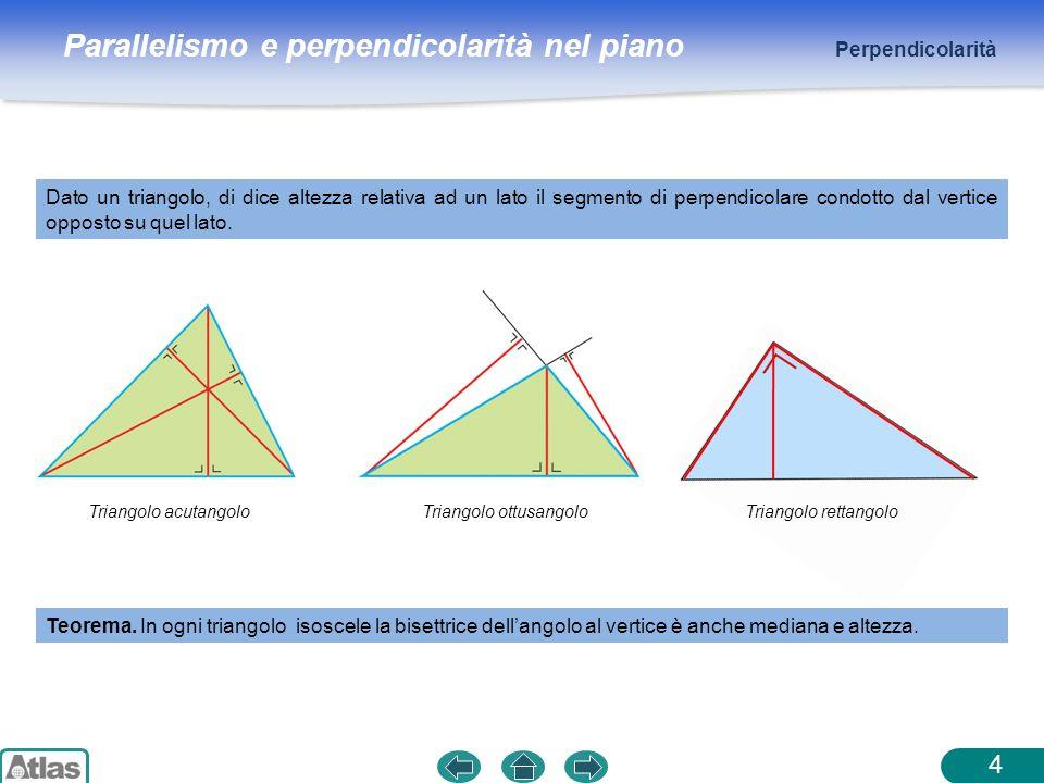 Parallelismo e perpendicolarità nel piano Dato un triangolo, di dice altezza relativa ad un lato il segmento di perpendicolare condotto dal vertice op