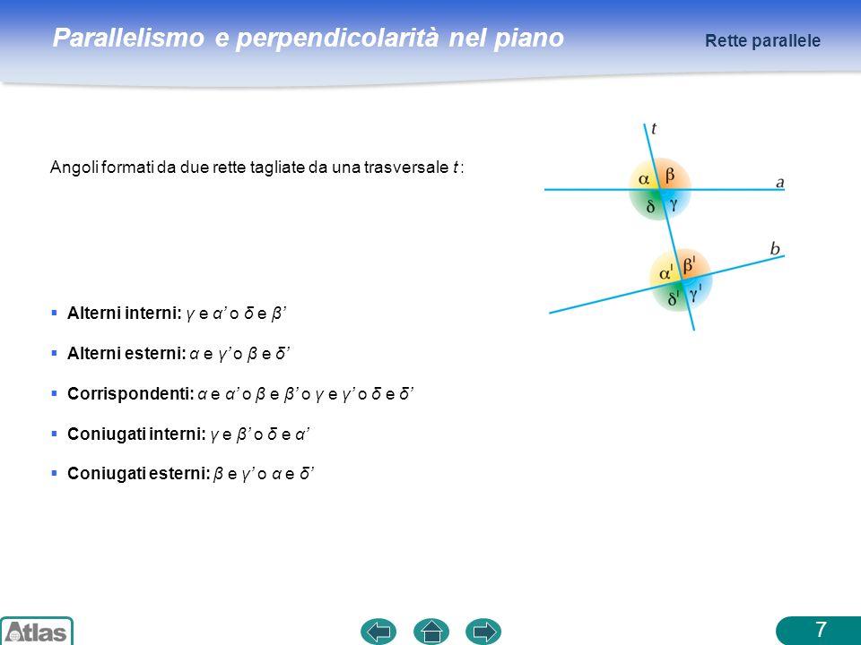 Parallelismo e perpendicolarità nel piano Angoli formati da due rette tagliate da una trasversale t : Rette parallele 7 Alterni interni: γ e α o δ e β