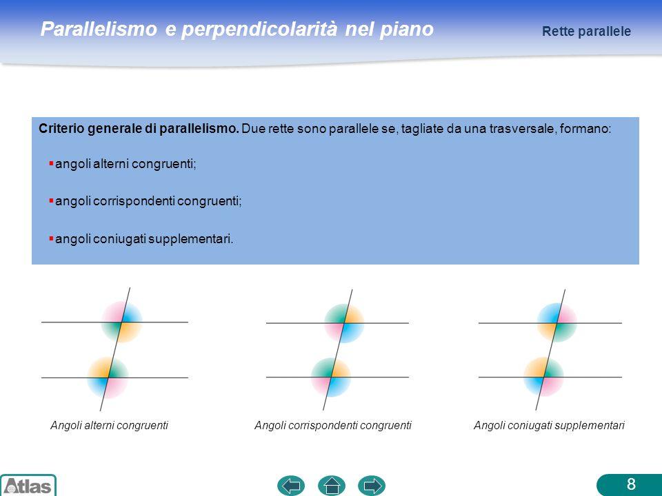 Parallelismo e perpendicolarità nel piano Rette parallele 8 Criterio generale di parallelismo. Due rette sono parallele se, tagliate da una trasversal