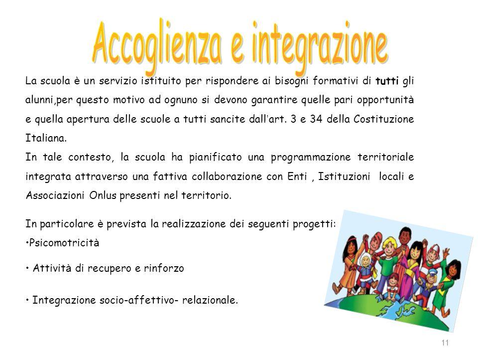 11 La scuola è un servizio istituito per rispondere ai bisogni formativi di tutti gli alunni,per questo motivo ad ognuno si devono garantire quelle pa