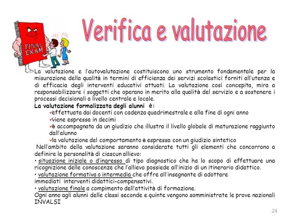 24 La valutazione e l autovalutazione costituiscono uno strumento fondamentale per la misurazione della qualit à in termini di efficienza dei servizi