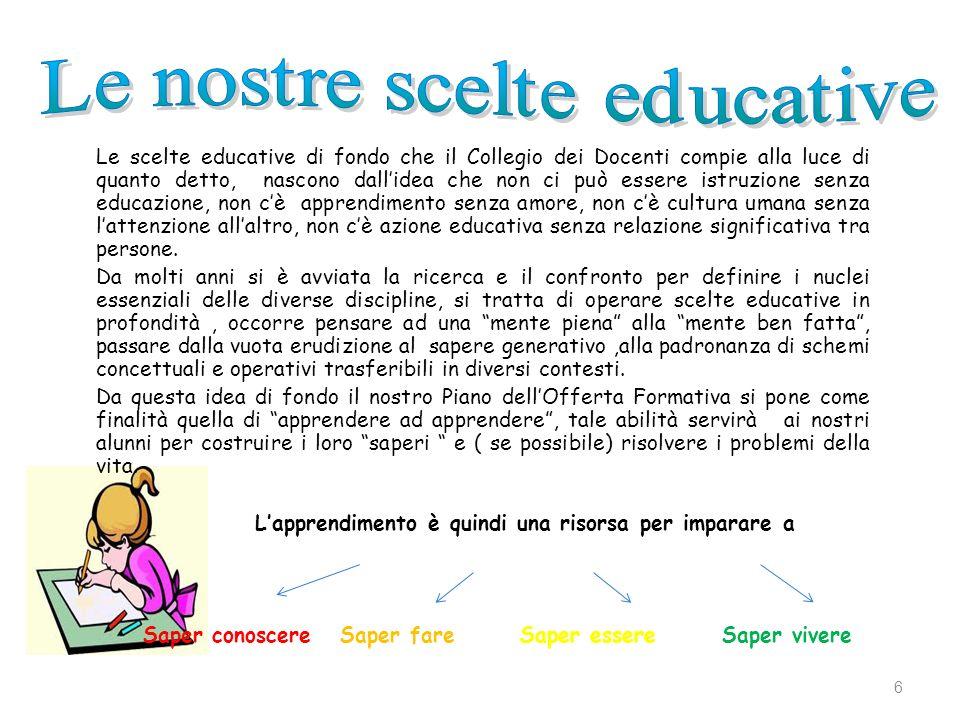 Le scelte educative di fondo che il Collegio dei Docenti compie alla luce di quanto detto, nascono dallidea che non ci può essere istruzione senza edu