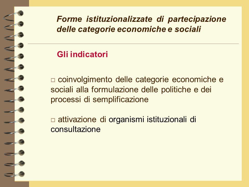 Forme istituzionalizzate di partecipazione delle categorie economiche e sociali Gli indicatori o coinvolgimento delle categorie economiche e sociali alla formulazione delle politiche e dei processi di semplificazione o attivazione di organismi istituzionali di consultazione