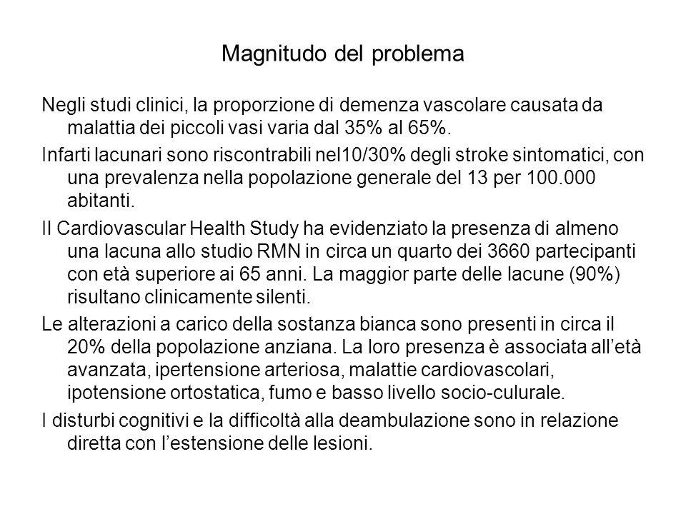 Magnitudo del problema Negli studi clinici, la proporzione di demenza vascolare causata da malattia dei piccoli vasi varia dal 35% al 65%. Infarti lac