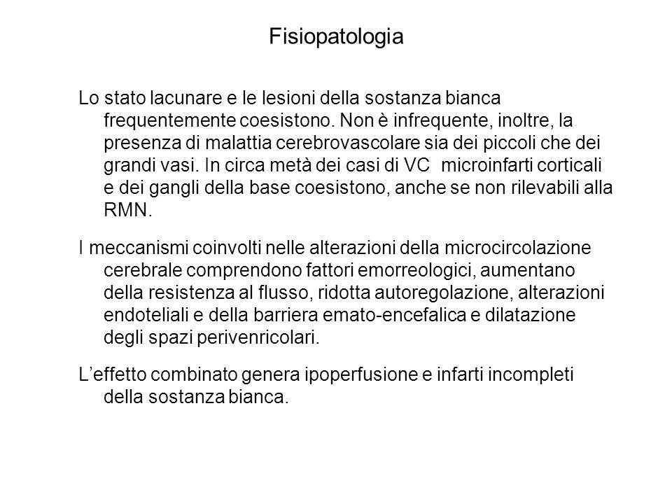 Fisiopatologia Lo stato lacunare e le lesioni della sostanza bianca frequentemente coesistono. Non è infrequente, inoltre, la presenza di malattia cer