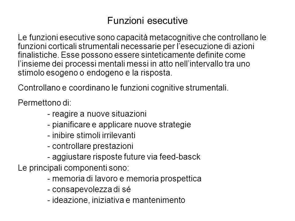 Funzioni esecutive Le funzioni esecutive sono capacità metacognitive che controllano le funzioni corticali strumentali necessarie per lesecuzione di a