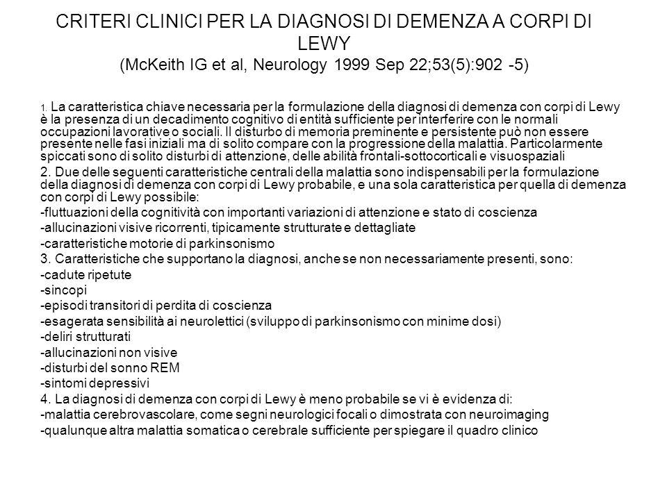 CRITERI CLINICI PER LA DIAGNOSI DI DEMENZA A CORPI DI LEWY (McKeith IG et al, Neurology 1999 Sep 22;53(5):902 -5) 1. La caratteristica chiave necessar