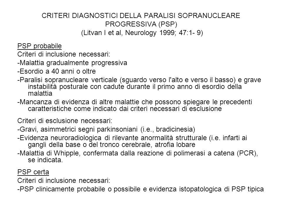 CRITERI DIAGNOSTICI DELLA PARALISI SOPRANUCLEARE PROGRESSIVA (PSP) (Litvan I et al, Neurology 1999; 47:1- 9) PSP probabile Criteri di inclusione neces