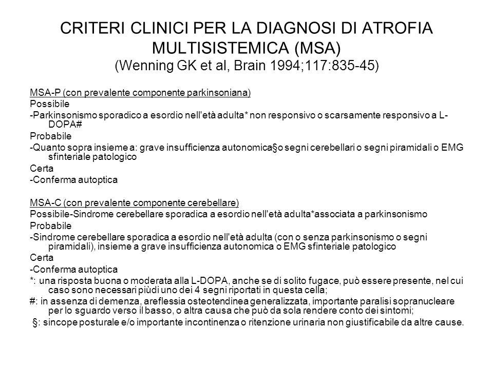 CRITERI CLINICI PER LA DIAGNOSI DI ATROFIA MULTISISTEMICA (MSA) (Wenning GK et al, Brain 1994;117:835-45) MSA-P (con prevalente componente parkinsonia