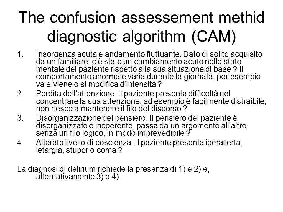 The confusion assessement methid diagnostic algorithm (CAM) 1.Insorgenza acuta e andamento fluttuante. Dato di solito acquisito da un familiare: cè st