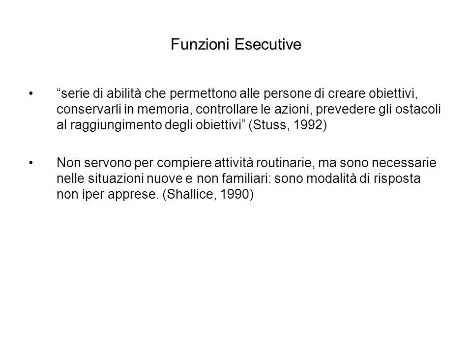 Funzioni Esecutive serie di abilità che permettono alle persone di creare obiettivi, conservarli in memoria, controllare le azioni, prevedere gli osta