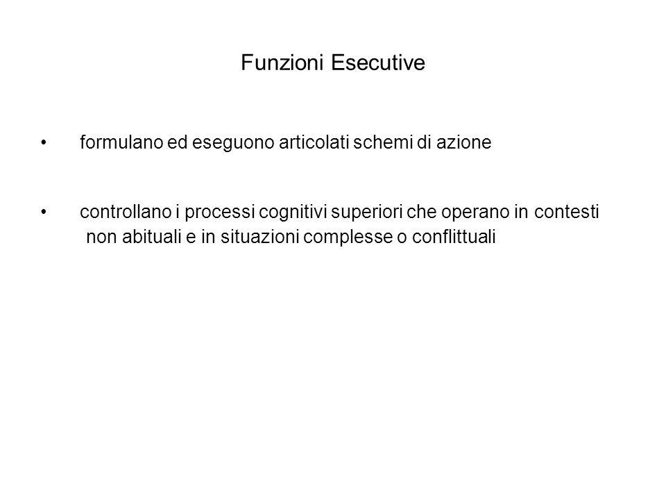 Funzioni Esecutive formulano ed eseguono articolati schemi di azione controllano i processi cognitivi superiori che operano in contesti non abituali e