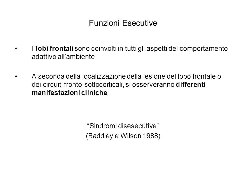 Funzioni Esecutive I lobi frontali sono coinvolti in tutti gli aspetti del comportamento adattivo allambiente A seconda della localizzazione della les