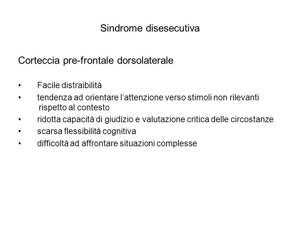 Sindrome disesecutiva Corteccia pre-frontale dorsolaterale Facile distraibilità tendenza ad orientare lattenzione verso stimoli non rilevanti rispetto