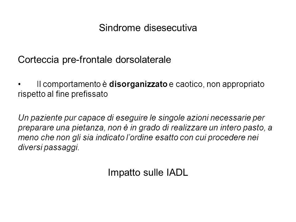 Sindrome disesecutiva Corteccia pre-frontale dorsolaterale Il comportamento è disorganizzato e caotico, non appropriato rispetto al fine prefissato Un