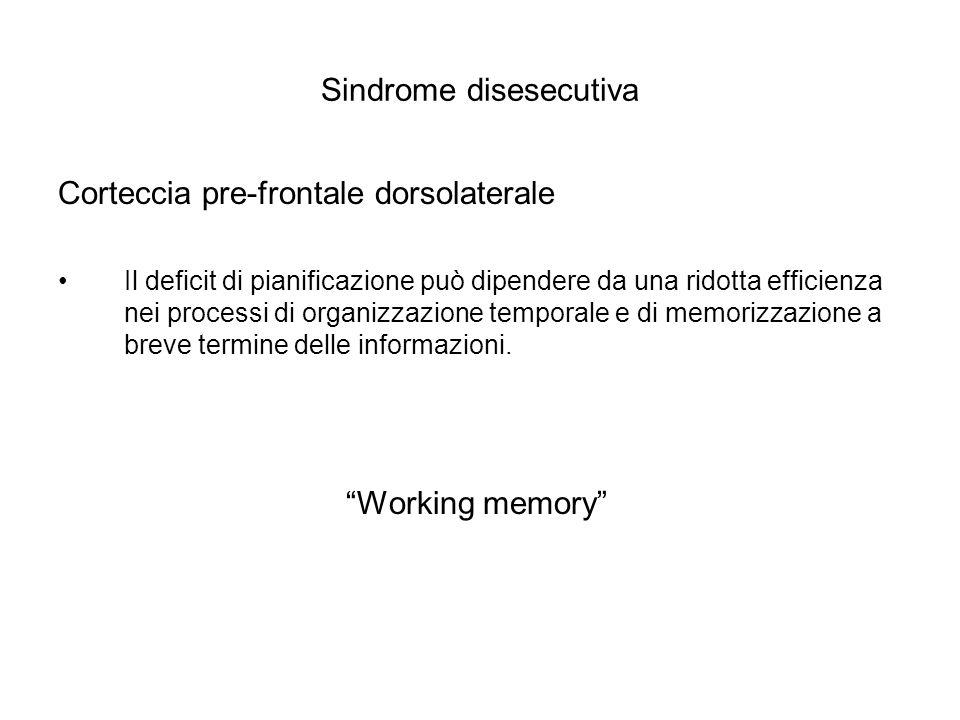 Sindrome disesecutiva Corteccia pre-frontale dorsolaterale Il deficit di pianificazione può dipendere da una ridotta efficienza nei processi di organi