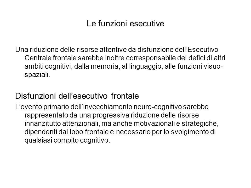 Le funzioni esecutive Una riduzione delle risorse attentive da disfunzione dellEsecutivo Centrale frontale sarebbe inoltre corresponsabile dei defici